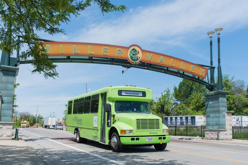 tour bus driving through Miller Valley