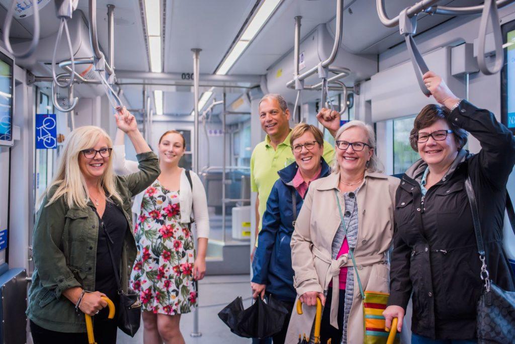 tour group on Milwaukee streetcar